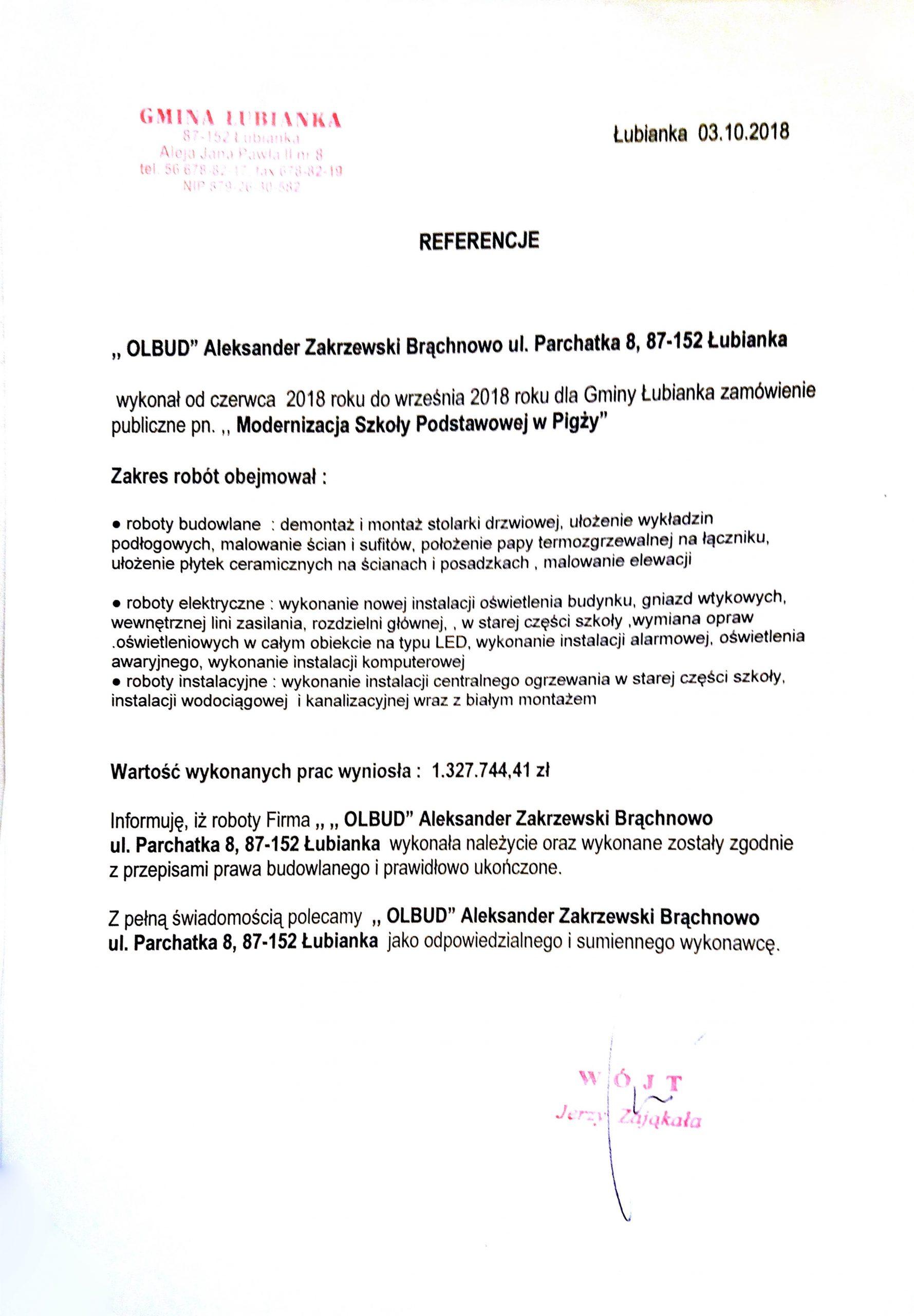 Gmina Łubianka 2018